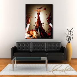 Leanne Laine Fine Art painting displayed above couch of man and woman hugging in red wine and whiskey pouring into a romantic embrace kissing with hearts