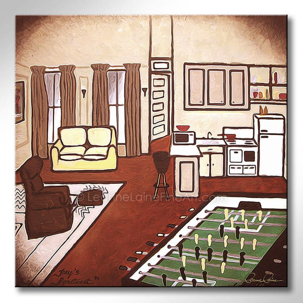 Leanne Laine Fine Art original artist painting of Joey's apartment from Friends sitcom tv show