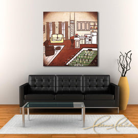 Leanne Laine Fine Art original artist painting displayed above couch of Joey's apartment from Friends sitcom tv show