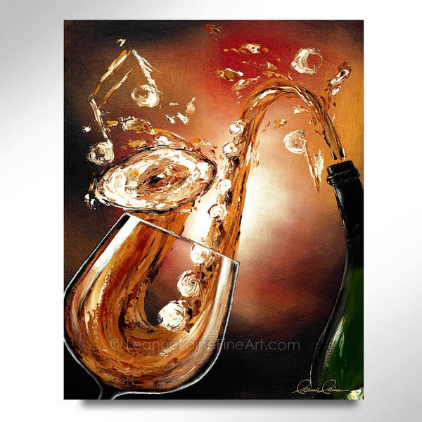 Leanne Laine Fine Art original artist painting of wine pouring from bottle to glass splashing into saxophone with music notes