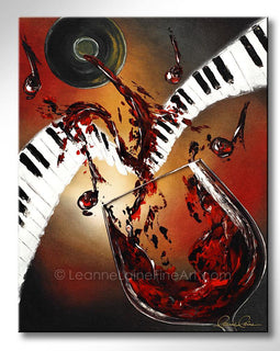 Leanne Laine Fine Art painting of red wine splashing and pouring from bottle onto piano keys with musical jazz notes