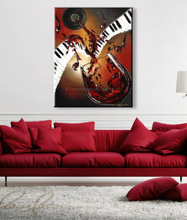 Leanne Laine Fine Art painting displayed above couch of red wine splashing and pouring from bottle onto piano keys with musical jazz notes