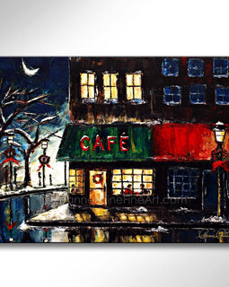 Leanne Laine Fine Art painting of Christmas winter cafe scene of couple drinking warm coffee