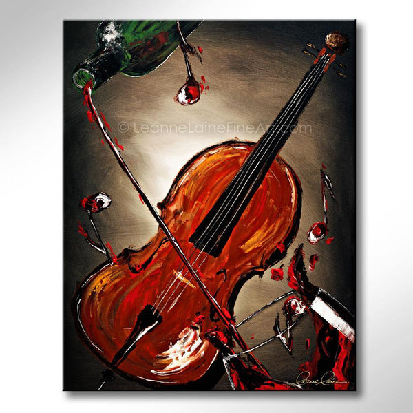 Leanne Laine Fine Art original artist painting of musical cello instrument pouring and splashing from bottle to wine glass