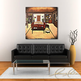 Leanne Laine Fine Art original artist painting displayed above couch of Ross apartment from Friends tv show