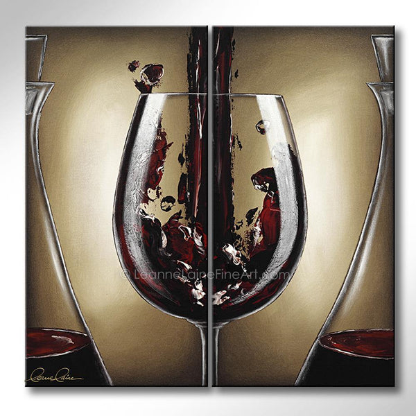 Leanne Laine Fine Art original artist painting of red wine splashing from wine glass between decanters