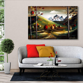 Leanne Laine Fine Art original artist painting displayed above couch of colorful nature landscape