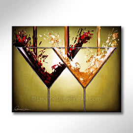 Leanne Laine Fine Art original artist painting of two martini glasses with pouring red and white gin vodka spirits