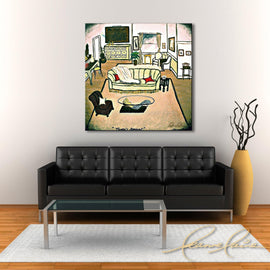 Leanne Laine Fine Art original artist painting displayed above couch of Phoebe's apartment from tv sitcom Friends