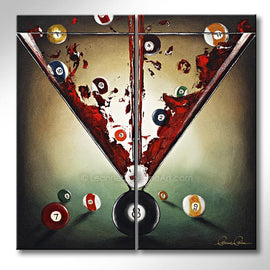 Leanne Laine Fine Art original artist painting of martini glass with red gin vodka with games room pool billiard eight balls