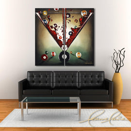 Leanne Laine Fine Art original artist painting displayed above couch of martini glass with red gin vodka with games room pool billiard eight balls