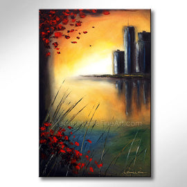 Leanne Laine Fine Art original artist painting of red leaves blowing from tree over water looking at city landscape