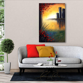 Leanne Laine Fine Art original artist painting displayed above couch of red leaves blowing from tree over water looking at city landscape