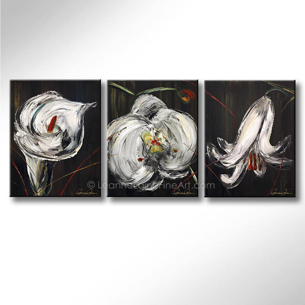Leanne Laine Fine Art painting of wedding white flowers lilies close up on stems