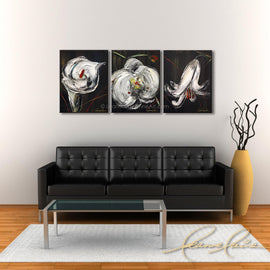 Leanne Laine Fine Art painting displayed above couch of wedding white flowers lilies close up on stems
