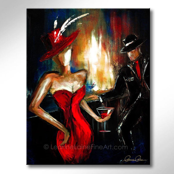 Leanne Laine Fine Art original artist painting of old fashioned woman in red hat and dress with man in suit and hat at bar with martini