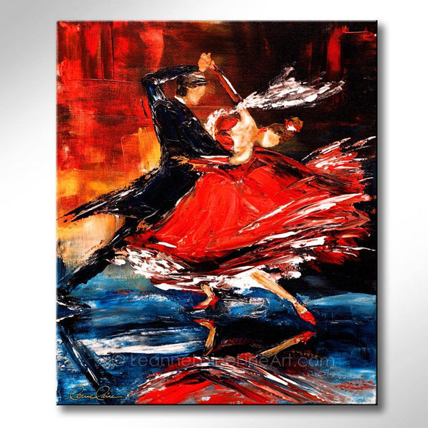 Leanne Laine Fine Art original artist painting of man and woman ballroom dancing in red dress and tuxedo