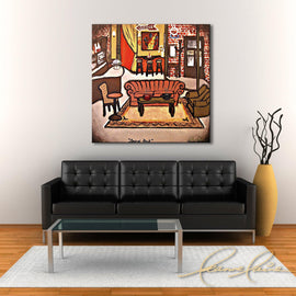 Leanne Laine Fine Art original artist painting displayed above couch of Friends sitcom TV show of Central Perk