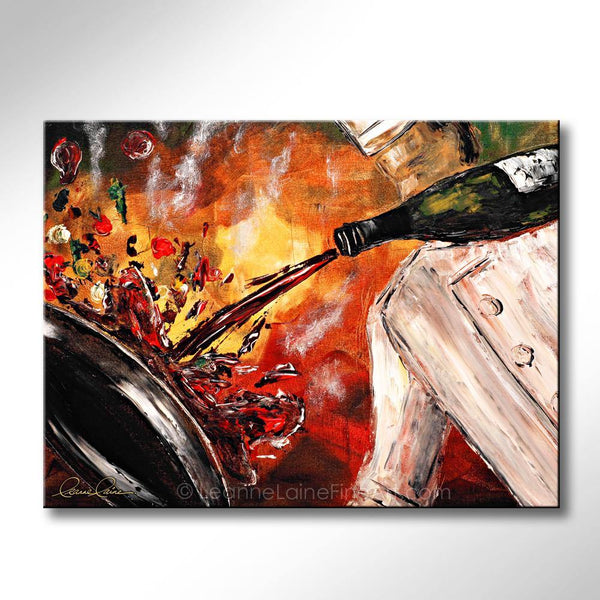 Leanne Laine Fine Art original artist painting of man master chef holding a bottle and splashing pan with red wine in kitchen