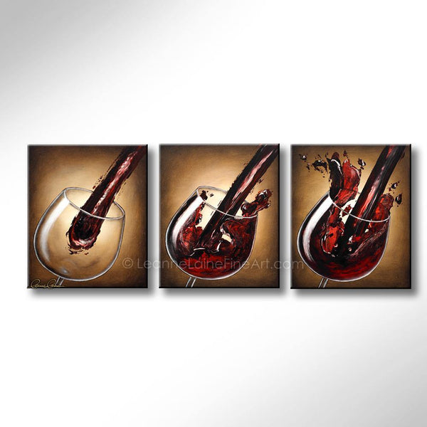 Leanne Laine Fine Art original artist painting of red wine pouring and splashing in sequence between three glasses