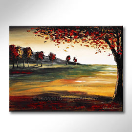Leanne Laine Fine Art original artist painting of red and yellow leaves falling of tree in nature autumn landscape