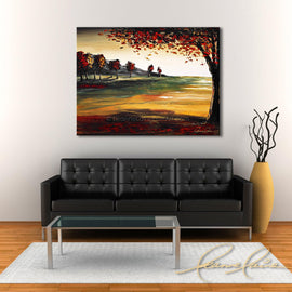 Leanne Laine Fine Art original artist painting displayed above couch of red and yellow leaves falling of tree in nature autumn landscape