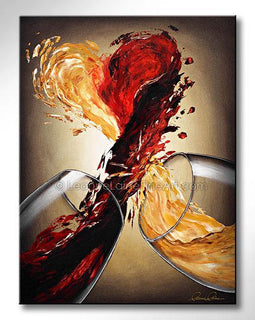 Leanne Laine Fine Art original artist painting of two glasses splashing and pouring red and white wine into a large heart of love