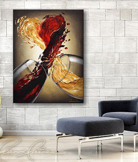 Leanne Laine Fine Art original artist painting displayed above blue chair of two glasses splashing and pouring red and white wine into a large heart of love