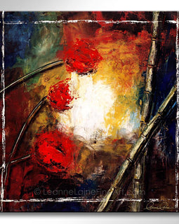 Leanne Laine Fine Art original artist painting of peaceful zen red flowers and bamboo