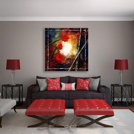 Leanne Laine Fine Art original artist painting displayed above couch of peaceful zen red flowers and bamboo