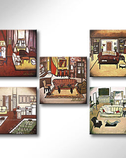 Leanne Laine Fine Art original artist painting of Friends sitcom TV show of Central Perk, Joey, Phoebe, Monica and Ross apartment