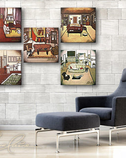 Leanne Laine Fine Art original artist painting displayed above chair of Friends sitcom TV show of Central Perk, Joey, Phoebe, Monica and Ross apartment