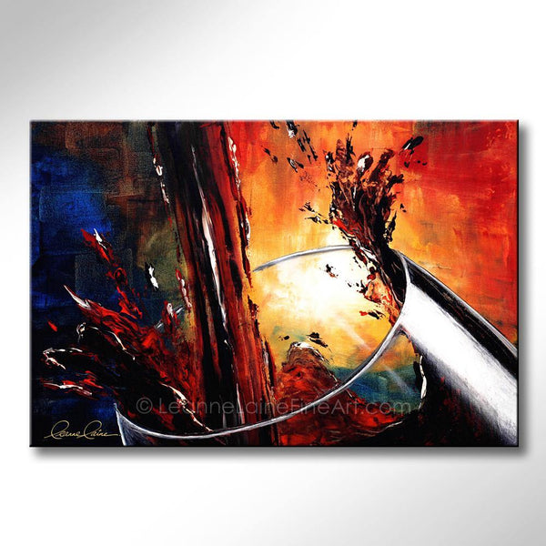 Leanne Laine Fine Art painting of red wine splashing and pouring into large glass