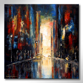 Leanne Laine Fine Art original artist painting of downtown city at night with cars and saxophone player