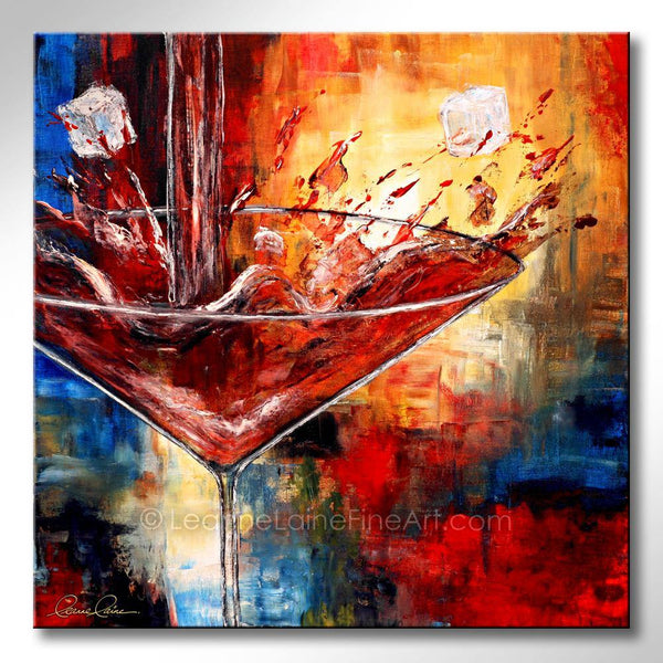 Leanne Laine Fine Art original artist painting of large martini glass with ice cubes and red splashing gin vodka spirits