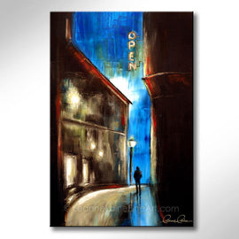 Leanne Laine Fine Art original artist painting of sleepless insonia man alone in street with open sign