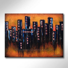 Leanne Laine Fine Art original artist painting of condo buildings in downtown city with sunset sky