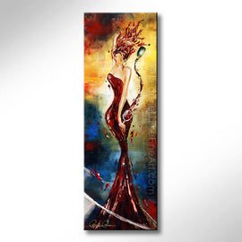Leanne Laine Fine Art original artist painting of sexy woman in wine pouring red into glass