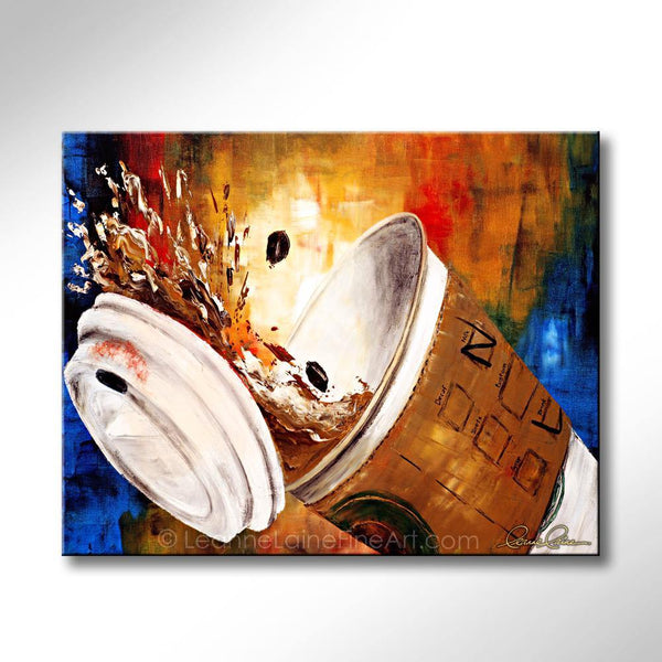 Leanne Laine Fine Art original artist painting of Starbucks coffee cup splashing with lid falling off