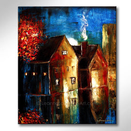 Leanne Laine Fine Art painting of night time sky with lights on in houses by red tree glowing and reflecting on street