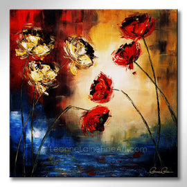 Leanne Laine Fine Art original artist painting of red and yellow flowers tulips by abstract water and grass in spring