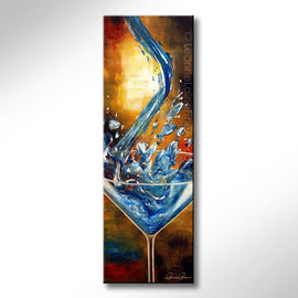 Leanne Laine Fine Art original artist painting of blue vodka pouring into martini glass