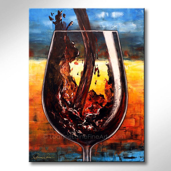 Leanne Laine Fine Art original artist painting of plum red wine pouring into large glass with summer sun background