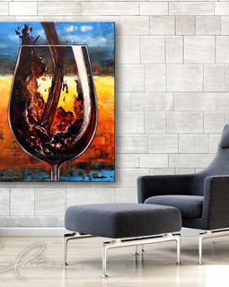 Leanne Laine Fine Art original artist painting displayed above chair of plum red wine pouring into large glass with summer sun background