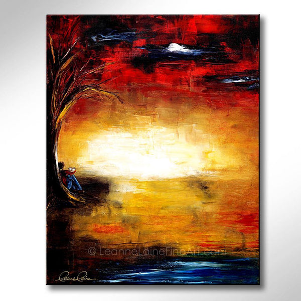 Leanne Laine Fine Art original artist painting of woman reading novel book under tree by lake with sunset