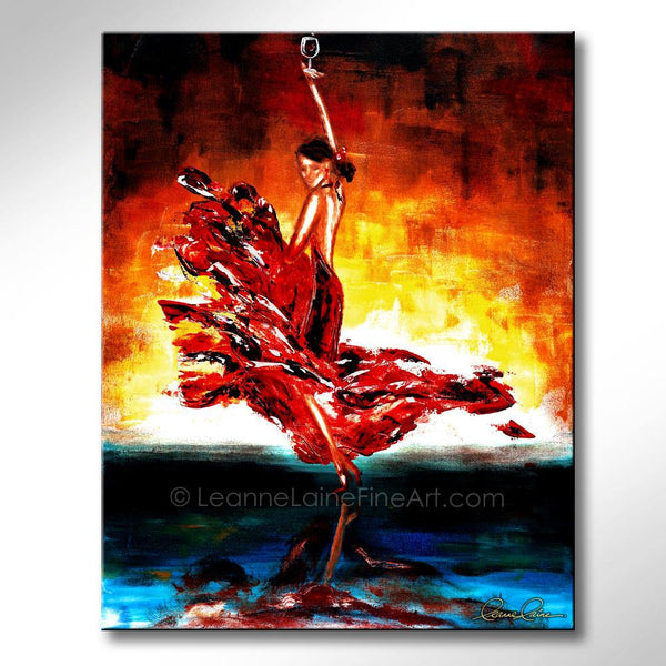 Leanne Laine Fine Art original artist painting of spanish beautiful woman flamenco Spanish dancer in red dress and heels holding wine over head