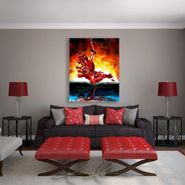 Leanne Laine Fine Art original artist painting displayed above couch of spanish beautiful woman flamenco Spanish dancer in red dress and heels holding wine over head