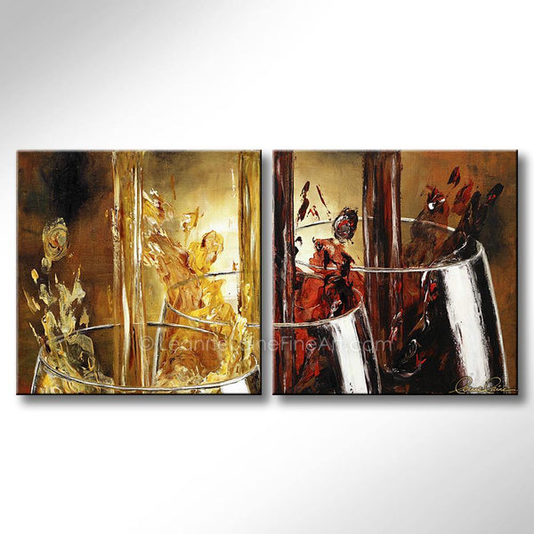 Leanne Laine Fine Art original artist painting of white and red wine pouring and splashing into three glasses