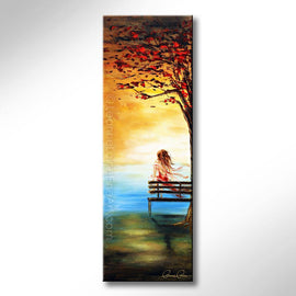 Leanne Laine Fine Art original artist painting of woman in red dress on park bench under a tree looking over water