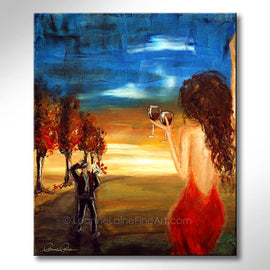 Leanne Laine Fine Art original artist painting of man and woman in red dress coming home to wife in love with wine glasses in hand